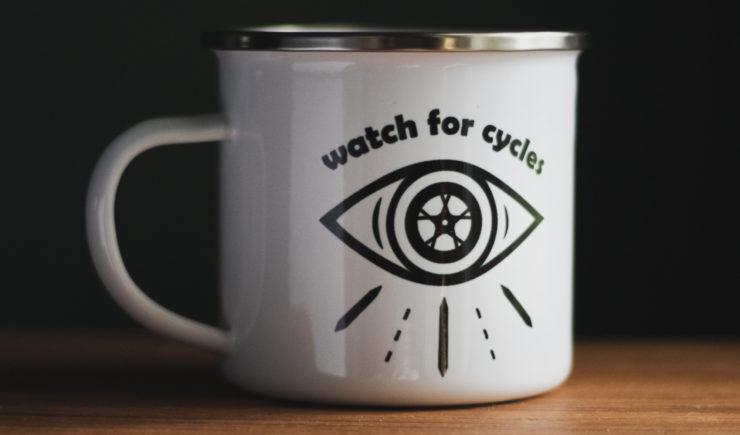 Watch For Cycles Enamel Mug Close Up