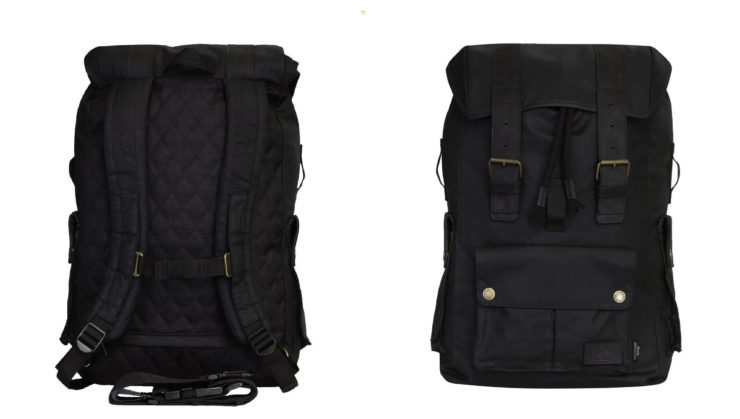 Merlin Ashby Waxed Cotton Motorcycle Rucksack Black