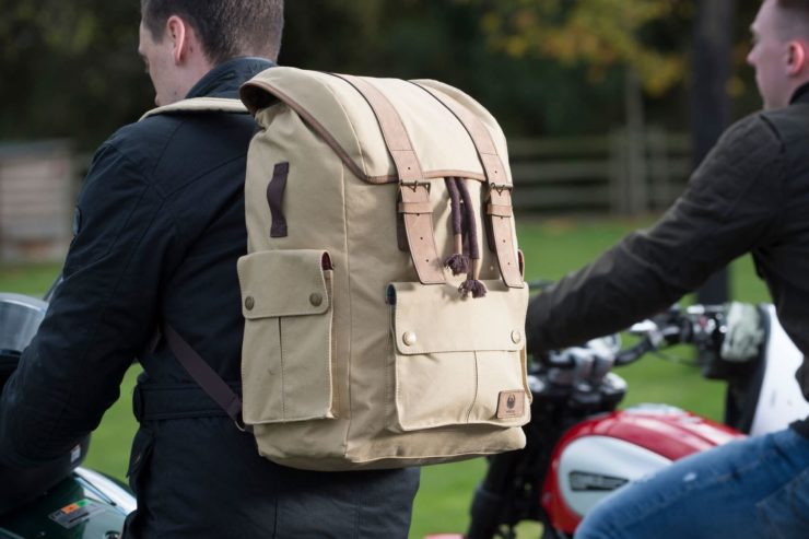 Merlin Ashby Waxed Cotton Motorcycle Rucksack Model