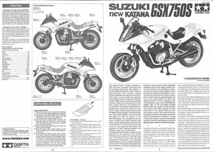 Suzuki GSX750S Katana Instructions