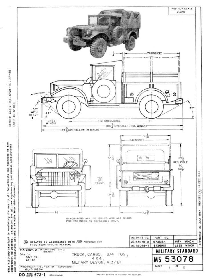 Dodge M37 4x4 Truck Specifications