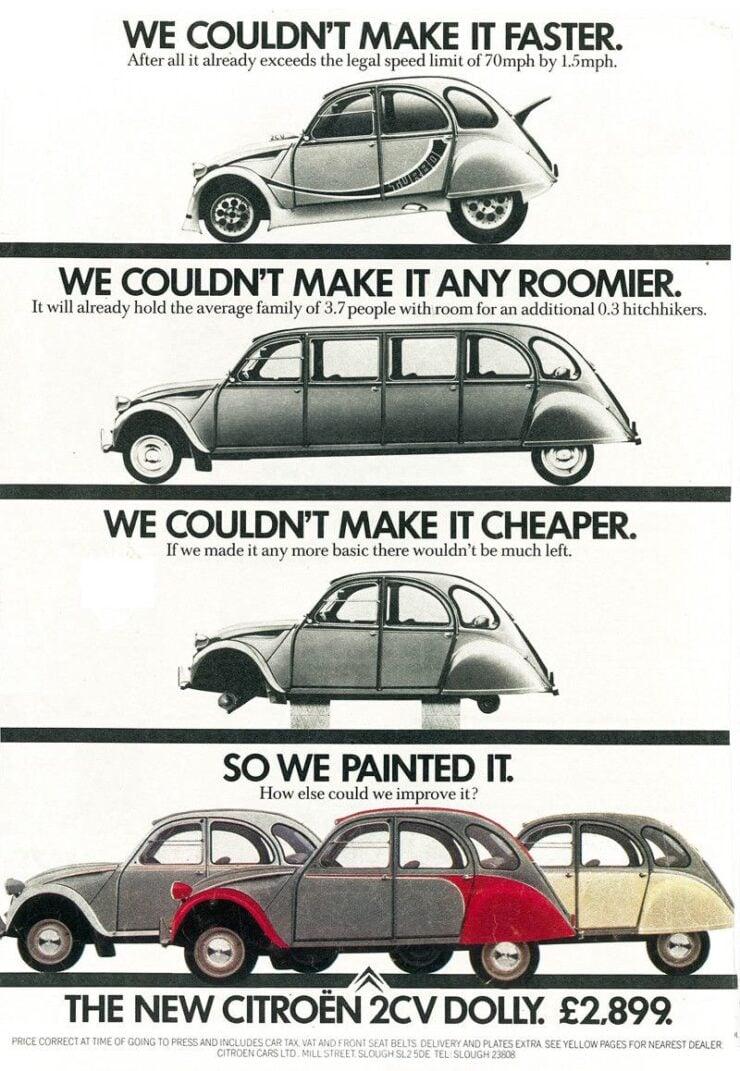 Citröen 2CV Vintage Advertisement