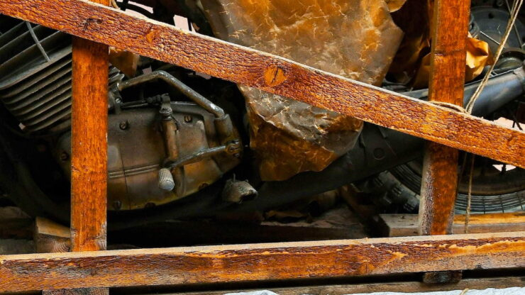 Coffin Tank CZ Motorcycle In Crate 13