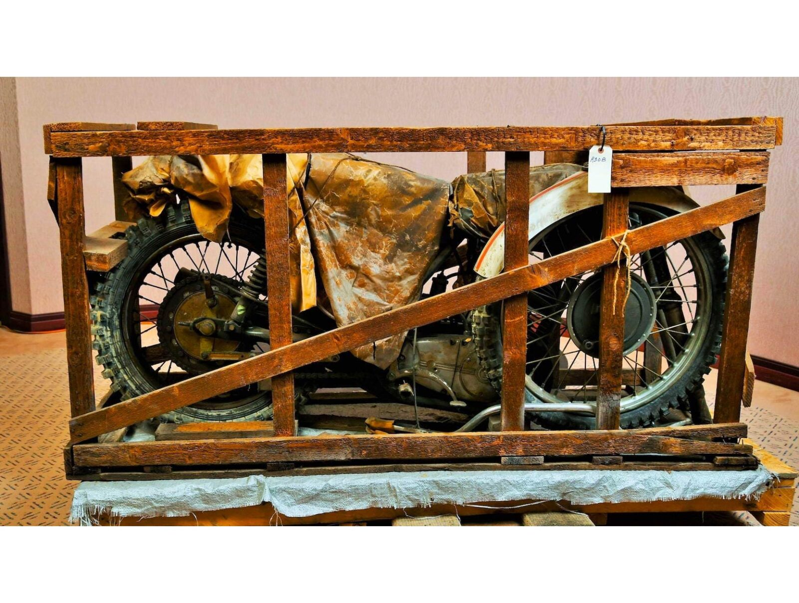 Coffin Tank CZ Motorcycle In Crate