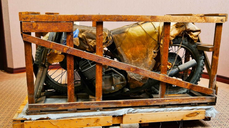 Coffin Tank CZ Motorcycle In Crate 5
