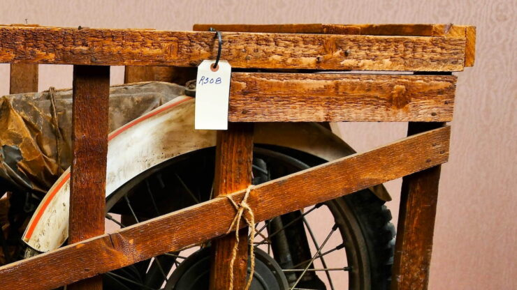 Coffin Tank CZ Motorcycle In Crate 7