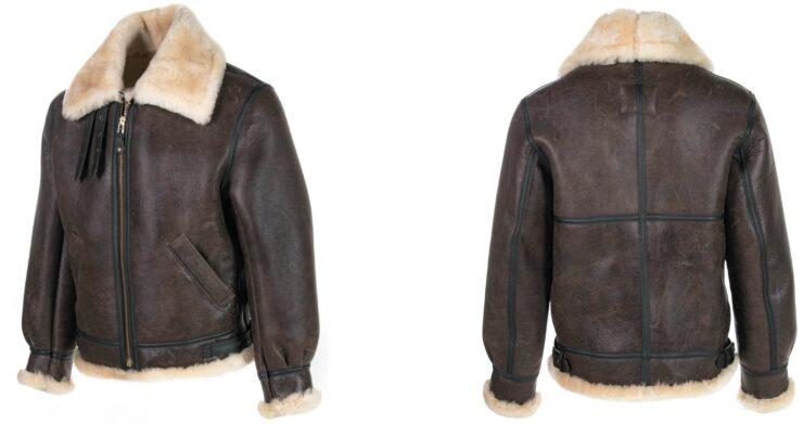 Schott Classic B-3 Sheepskin Leather Bomber Jacket Collage