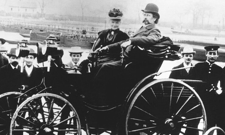 Karl and Bertha Benz In An Automobile