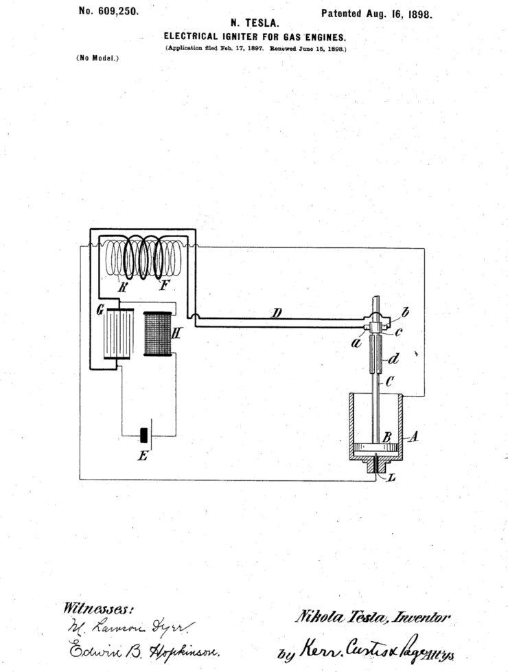 Nikola Tesla Spark Plug Patent