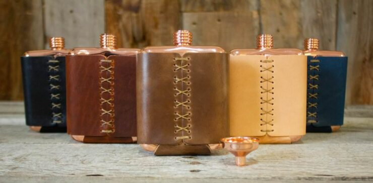 Clark Fork Copper Flask by Whiskey Leatherworks 3