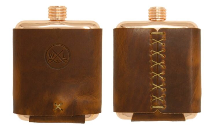 Clark Fork Copper Flask by Whiskey Leatherworks 7