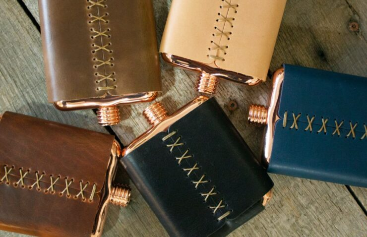 Clark Fork Copper Flask by Whiskey Leatherworks