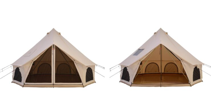 White Duck Avalon Bell Tent Open and Closed
